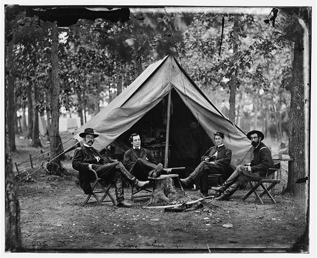 Brandy Station, Va. Col. George H. Sharpe, John G. Babcock, unidentified, and Lt. Col. John McEntee, Secret Service officers at Army of the Potomac headquarters
