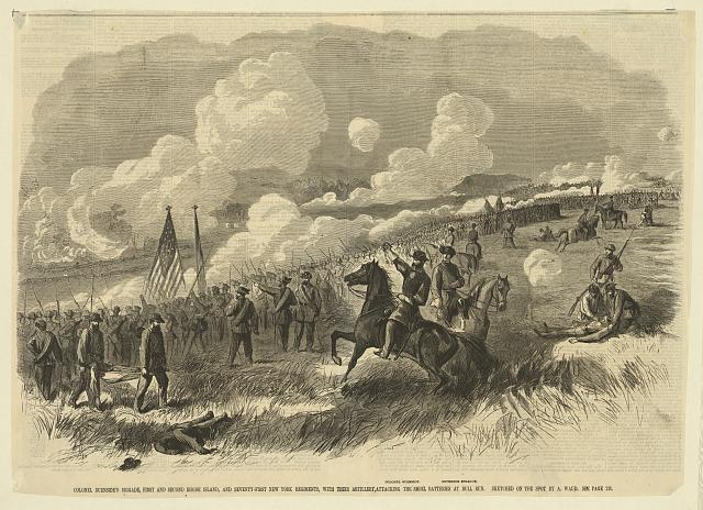 Colonel Burnsides brigade at Bull Run, First and Second Rhode Island, and Seventy-First New York Regiments, with their Artillery, Attacking the Rebel Batteries at Bull Run. Sketched on the spot by A. Waud