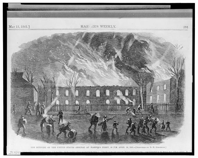 The burning of the United States arsenal at Harper's Ferry, 10 P.M. April 18, 1861