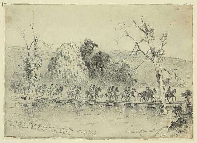 The army of General Fremont crossing the north fork of the Shenandoah at Mt. Jackson—Pursuit of Stonewall Jackson