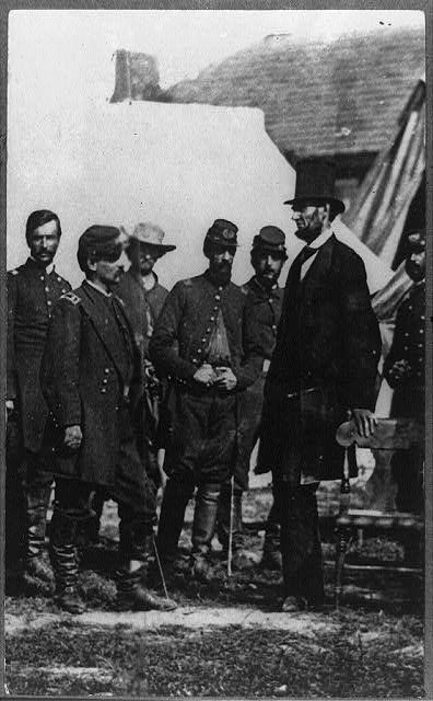 Abraham Lincoln on battlefield at Antietam, with General McClellan and staff. Did Union leadership adhere to  cogent military theory?