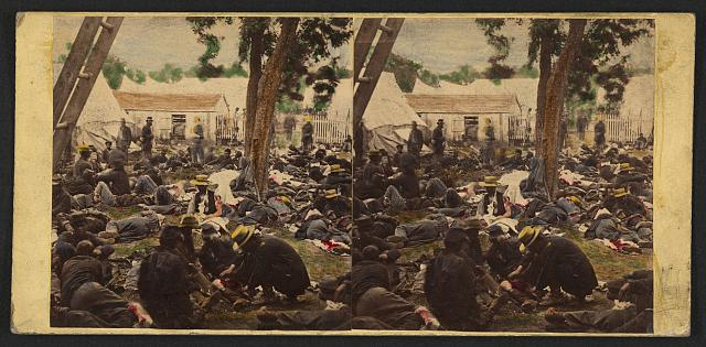 "This steroprint, entitled ""Tending wounded Union soldiers at Savage's Station, Virginia, during the Peninsular Campaign"", includes soldiers who fought at Gaines Mills, during the Seven Days battles."