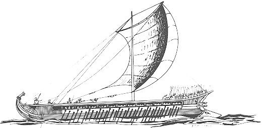 The Greek Trireme dominated naval warfare for centuries in the central Mediterranean.