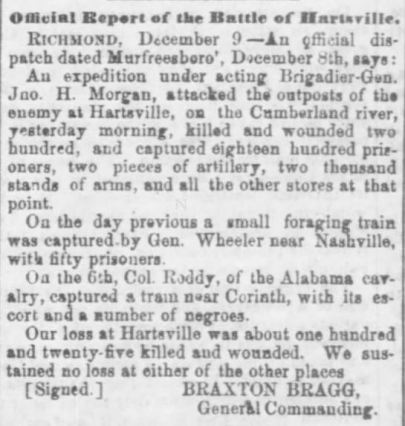 Official Report Battle of Hartsville