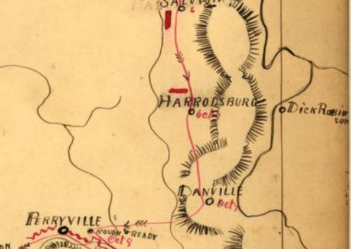 Harrodsburg closeup from Map Kentuck 1862